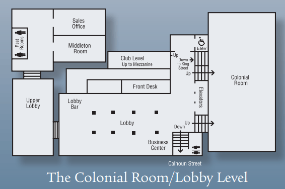 The Colonial Ballroom and Lobby Level space chart.
