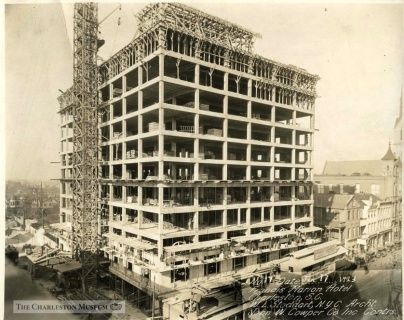 The construction of the hotel shows scaffolding to the left hand side.