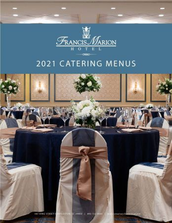 Catering Menus for 2021 cover pages shows our Carolina ballroom ready for a wedding.