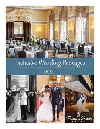 front cover page of our all inclusive wedding packages for 2021. The top image shows our colonial ballroom set for a wedding and there are three images below that show various couples getting married at the hotel.