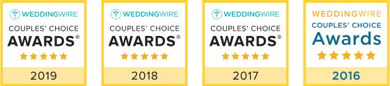 Wedding Wire Couples' Choice Awards 2019, 2018, 2017 and 2016.