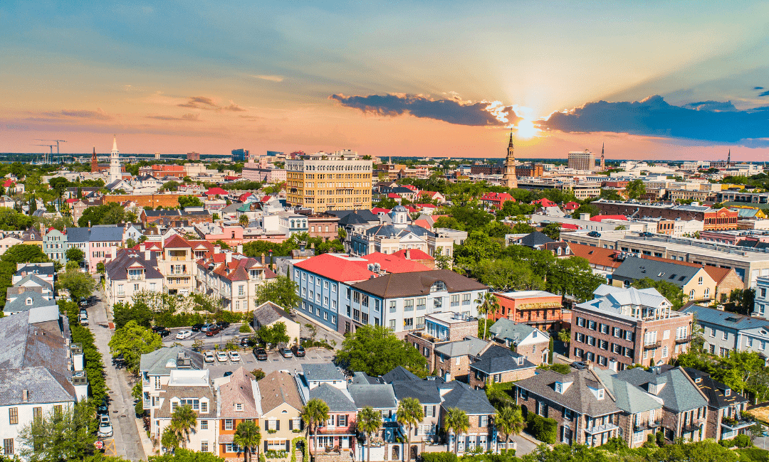 A skyline of Charleston with a vast variety of buildings.